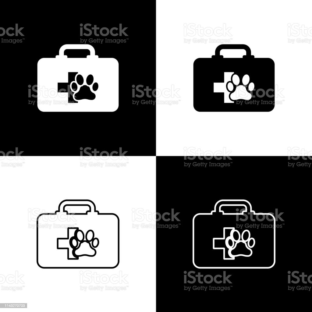 Set Pet First Aid Kit Icons Isolated On Black And White