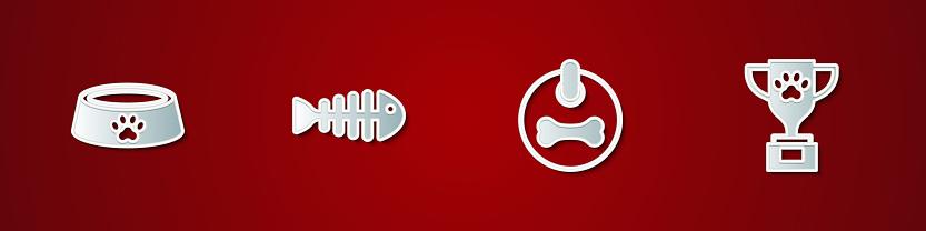 Set Pet food bowl, Fish skeleton, Dog collar and award icon. Vector