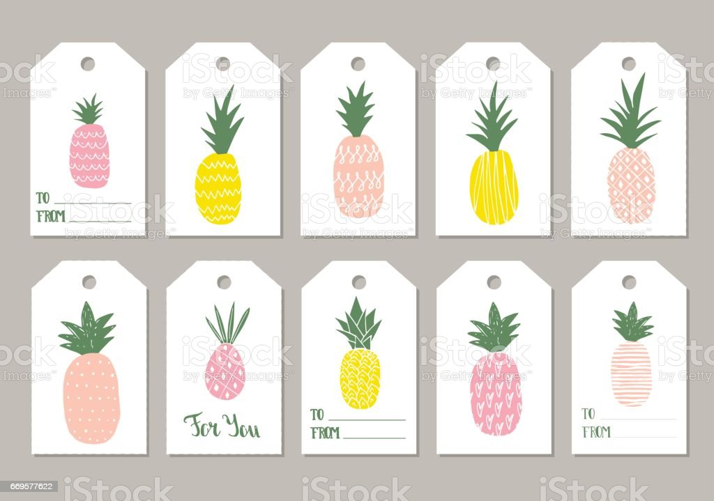 Cute Tags: Set Pf Cute Pineapple Gift Tags Stock Vector Art & More