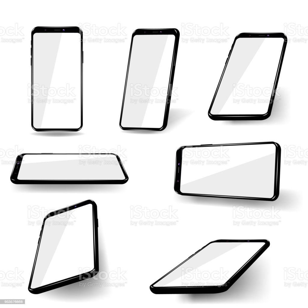 Set phones at different angles. vector art illustration