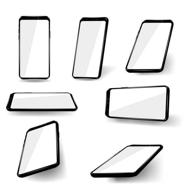 set phones at different angles. - angle stock illustrations