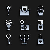 istock Set Photo camera, Candlestick, Shopping bag with heart, Please do not disturb, Key shape, Bouquet of flowers, Flowers basket and rose icon. Vector 1339102439