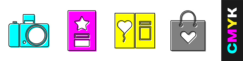 Set Photo camera, Greeting card, Greeting card and Shopping bag with heart icon. Vector
