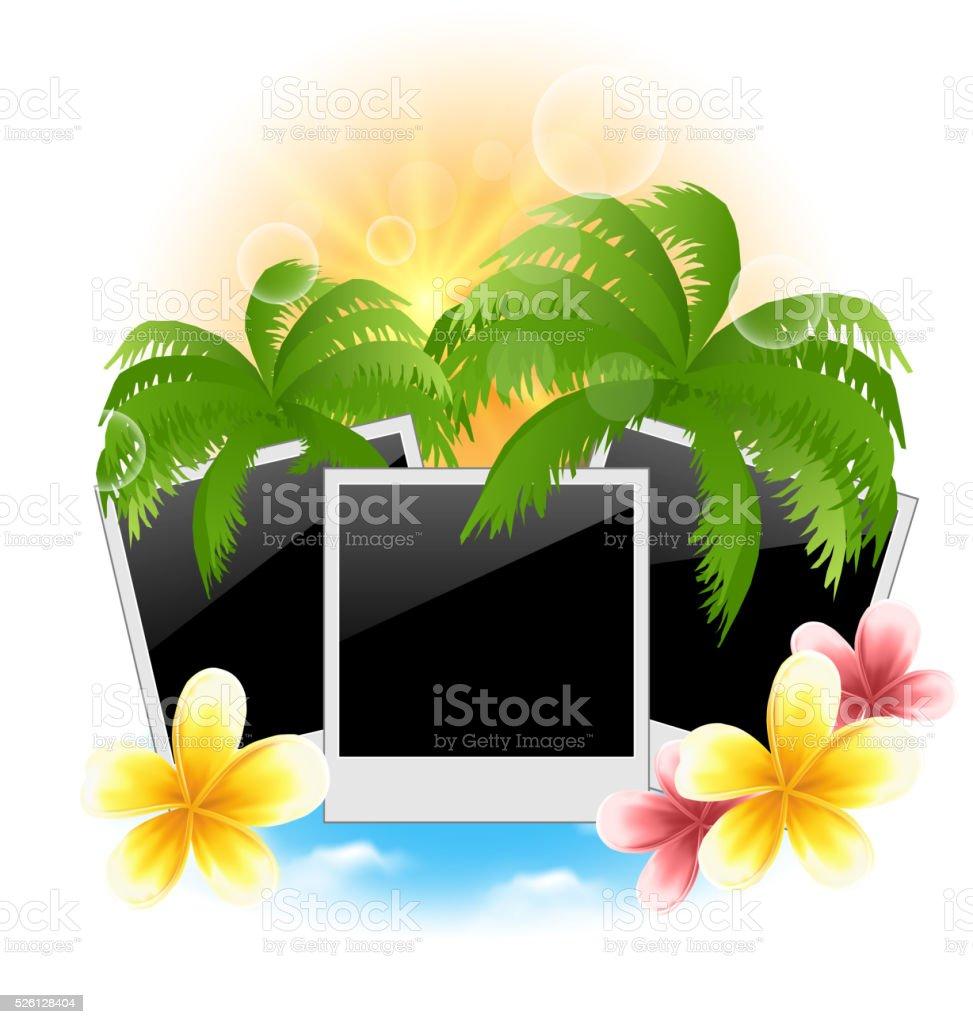 Set photo frame with palms, flowers frangipani, seascape backgro vector art illustration