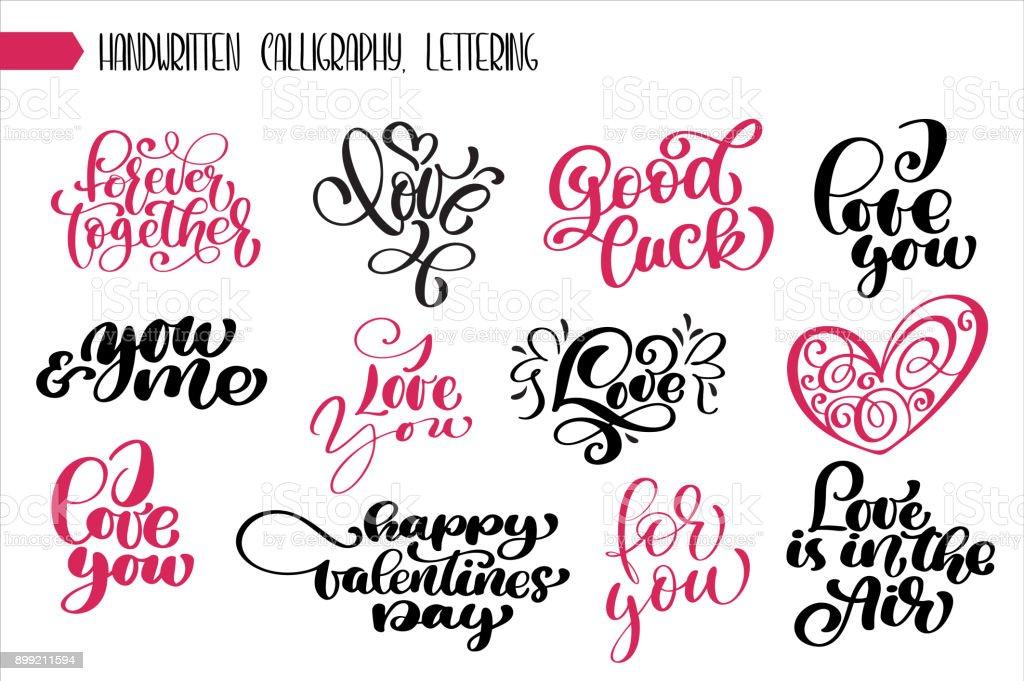 Ilustración De Frase Set Caligrafía De Día De San Valentín