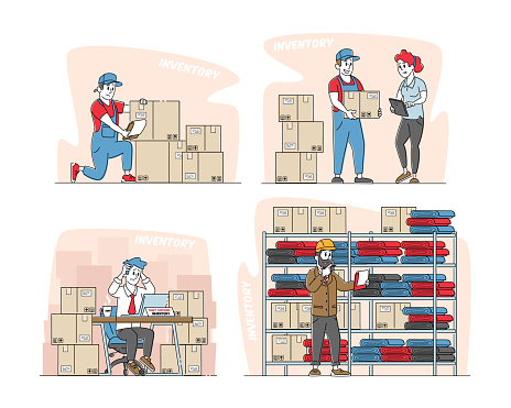 Set Physical Inventory Count Management. Storekeeper Characters Manage Warehouse Cargo Loading, Unloading Sorting