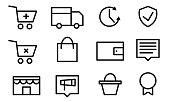 Set pictogram supermarket services, Shopping Icons. Online Shopping