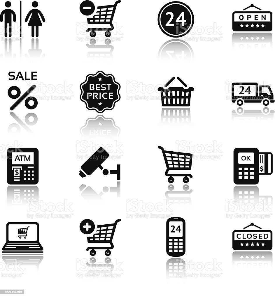 Set pictograms supermarket services, Shopping Icons. Black with reflection royalty-free stock vector art