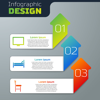 Set Picture frame on table, Bed and Chair. Business infographic template. Vector