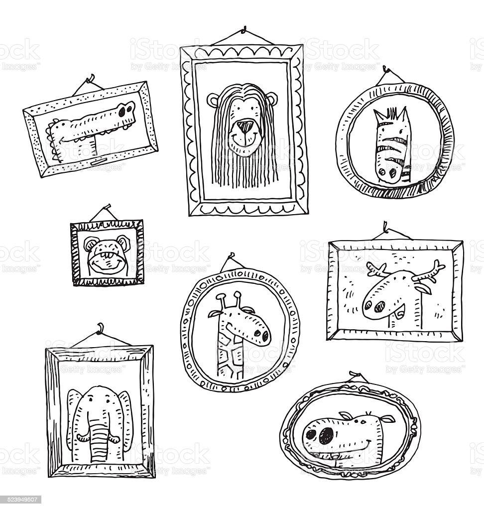 Establecer los marcos de los cuadros con los animales retrato, ilustración vectorial dibujados a mano. - ilustración de arte vectorial
