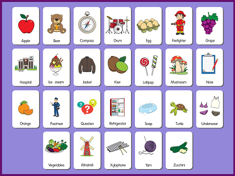 Set pictures of cartoons The representation of the English letters in order from A to Z in both uppercase and lowercase letters. So that children can learn basic vocabulary in English.