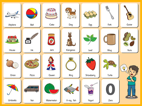 Set pictures of cartoons The representation of the English letters in order from A to Z in both uppercase and lowercase letters.Basic vocabulary in English.