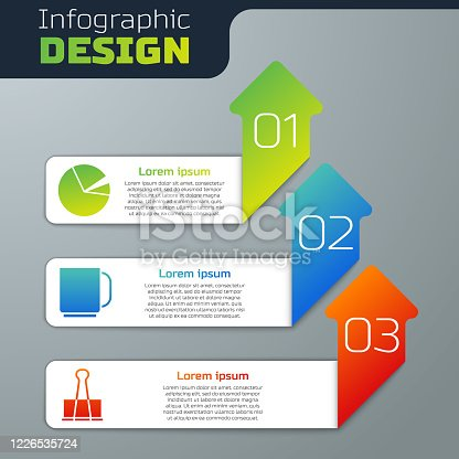istock Set Pie chart infographic, Coffee cup and Binder clip. Business infographic template. Vector 1226535724