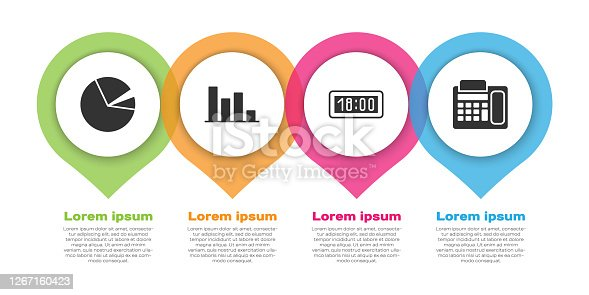Set Pie chart infographic, Pie chart infographic, Digital alarm clock and Telephone. Business infographic template. Vector