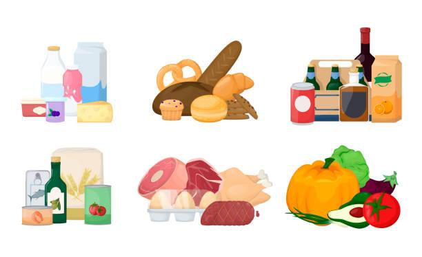 illustrazioni stock, clip art, cartoni animati e icone di tendenza di set pile of food. different product. grocery, drinks, milk, fruit and vegetables, meat, fish and sea food. cartoon vector. - banchi di pesci