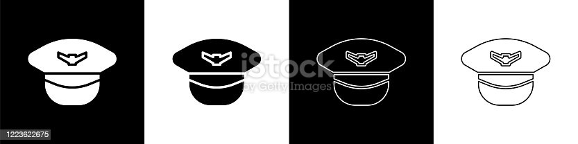 istock Set Pilot hat icon isolated on black and white background. Vector Illustration 1223622675