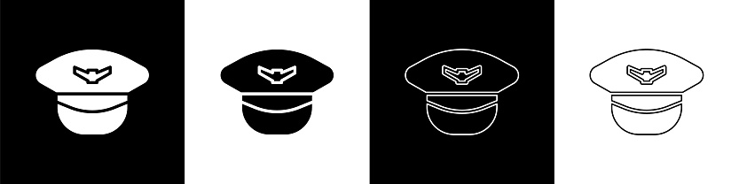 Set Pilot hat icon isolated on black and white background. Vector Illustration