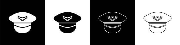 Set Pilot hat icon isolated on black and white background. Vector Illustration Set Pilot hat icon isolated on black and white background. Vector Illustration human head stock illustrations