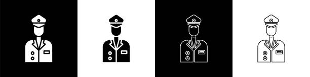 stockillustraties, clipart, cartoons en iconen met stel het pictogram pilot in dat is geïsoleerd op een zwart-witte achtergrond. vectorillustratie - alleen één jonge man