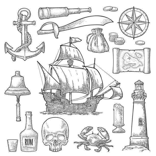 bildbanksillustrationer, clip art samt tecknat material och ikoner med ställ in piratäventyr. vektor färg vintage gravyr - map oceans