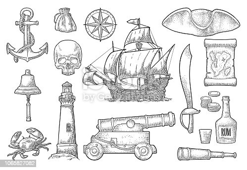 Set pirate adventure. Anchor, rum bottle, cannon, tricorn, wheel, money bag, coins, skull, saber, caravel, compass, spyglass, lighthouse isolated on white background. Vector black vintage engraving