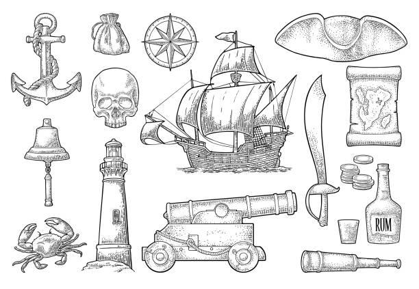 ilustraciones, imágenes clip art, dibujos animados e iconos de stock de conjunto aventura pirata. vector en color vintage grabado - tatuajes náuticos