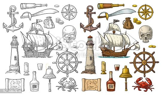 istock Set pirate adventure. Vector color vintage engraving 1074997618