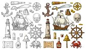 Set pirate adventure. Anchor, rum bottle, wheel, money bag, coins, skull, saber, crab, caravel, compass rose, spyglass, bell, lighthouse isolated on white background. Vector color vintage engraving