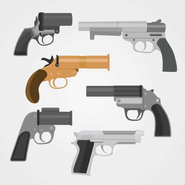 Set pistol weapon collections Vector Illustration Set pistol weapon collections Vector Illustration pistol stock illustrations