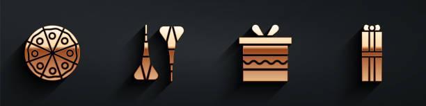 Set Pizza, Dart arrow, Gift box and Gift box icon with long shadow. Vector Set Pizza, Dart arrow, Gift box and Gift box icon with long shadow. Vector anniversary clipart stock illustrations