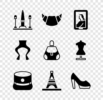 Set Place De La Concorde, Croissant, Portrait in museum, Kepi, Eiffel tower, Woman shoe, Frog legs and Handbag icon. Vector