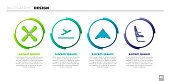 Set Plane propeller, Plane takeoff, Jet fighter and Airplane seat. Business infographic template. Vector