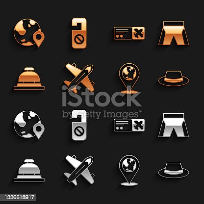 istock Set Plane, Short or pants, Man hat with ribbon, Location the globe, Hotel service bell, Airline ticket, and Please do not disturb icon. Vector 1336618917