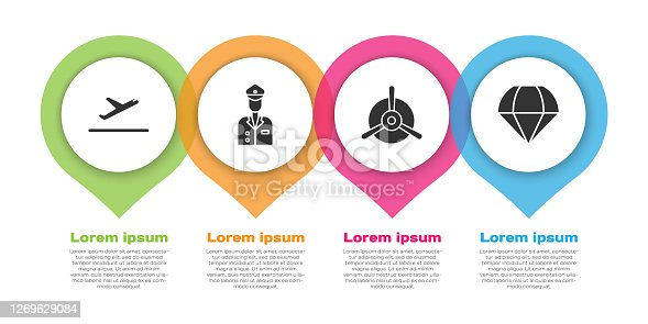 Set Plane takeoff, Pilot, Plane propeller and Parachute. Business infographic template. Vector