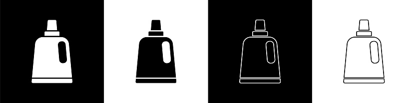 Set Plastic bottle for laundry detergent, bleach, dishwashing liquid or another cleaning agent icon isolated on black and white background. Vector
