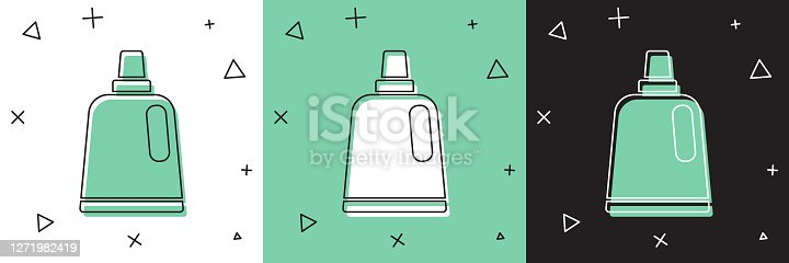 istock Set Plastic bottle for laundry detergent, bleach, dishwashing liquid or another cleaning agent icon isolated on white and green, black background. Vector 1271982419