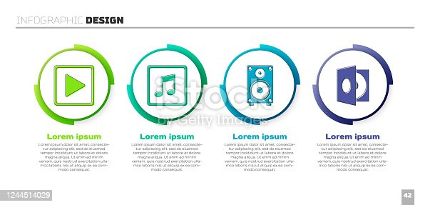 istock Set Play in square, Music note, tone, Stereo speaker and Vinyl player with a vinyl disk. Business infographic template. Vector 1244514029