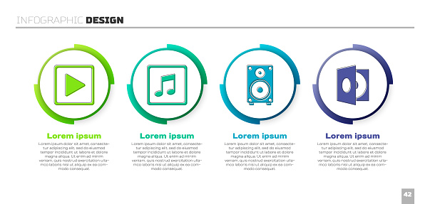 Set Play in square, Music note, tone, Stereo speaker and Vinyl player with a vinyl disk. Business infographic template. Vector