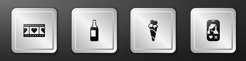 Set Play Video with heart, Wine bottle, Ice cream waffle cone and Dating app online icon. Silver square button. Vector