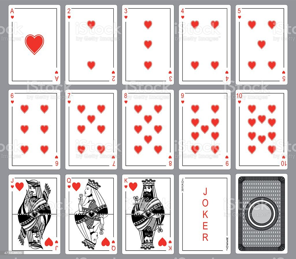 Set Playing cards of hearts. royalty-free set playing cards of hearts stock vector art & more images of ace