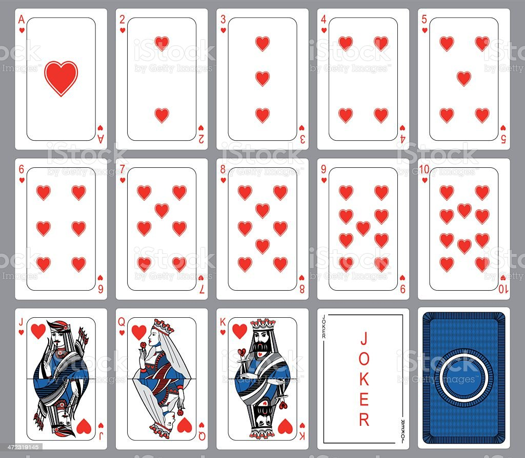 Set Playing cards of hearts. vector art illustration
