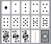 Set Playing cards of spades.