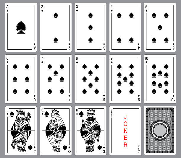 Set Playing cards of spades. vector art illustration