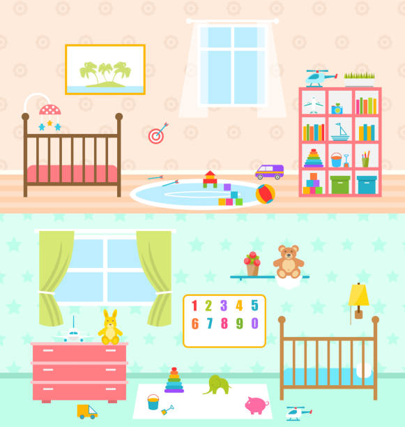set playrooms for kids. baby rooms interior - babyzimmer stock-grafiken, -clipart, -cartoons und -symbole