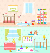 Set Playrooms for Kids. Baby Rooms Interior