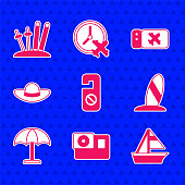 istock Set Please do not disturb, Action camera, Yacht sailboat, Surfboard, Sun protective umbrella, Elegant women hat, Airline ticket and Ski and sticks icon. Vector 1337820370