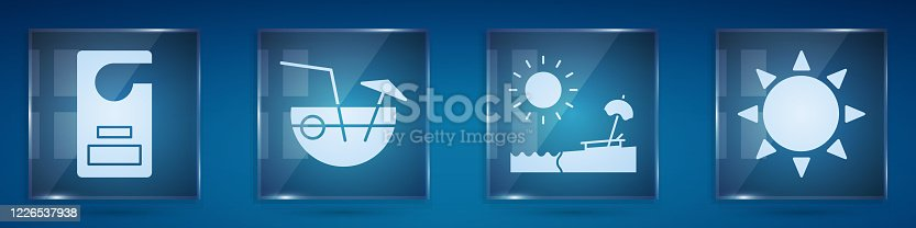 istock Set Please do not disturb, Coconut cocktail, Beach with umbrella and chair and Sun. Square glass panels. Vector 1226537938