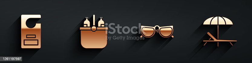 istock Set Please do not disturb, Cooler bag and water, Glasses and Sunbed and umbrella icon with long shadow. Vector 1261197597