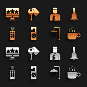 istock Set Please do not disturb, Hotel service bell, Coffee cup, Shower, Remote control, Concierge, Five stars rating review and door lock key icon. Vector 1339867390