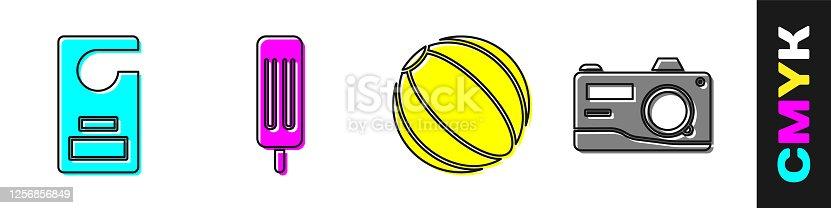 istock Set Please do not disturb, Ice cream, Beach ball and Photo camera icon. Vector 1256856849